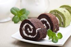 Chocolate swiss roll Royalty Free Stock Photos