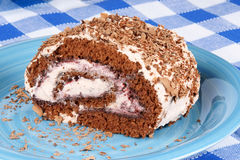 Chocolate swiss roll cake Royalty Free Stock Image