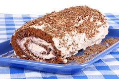 Chocolate swiss roll cake Stock Image