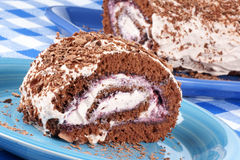 Chocolate swiss roll cake Royalty Free Stock Images