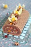 Chocolate Swiss Roll Cake Stock Image