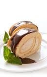 Chocolate swiss roll cake Stock Photo