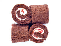 Chocolate swiss roll isolated. On white background Royalty Free Stock Photography