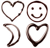 Chocolate symbols: hearts, smile, moon Royalty Free Stock Photography