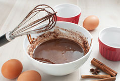 Chocolate syrup or batter cooking. Ingredients Royalty Free Stock Image