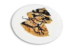 Chocolate syrup crepes Stock Photos