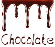 Chocolate syrup flow chocolate text Stock Images