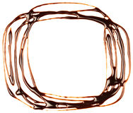 Chocolate syrup frame is isolated on a white background Stock Photography