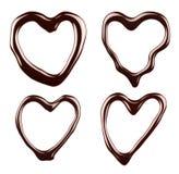 Chocolate syrup hearts Stock Photo
