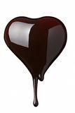 Chocolate syrup leaking on heart shape Royalty Free Stock Photo
