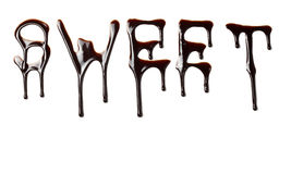 Chocolate syrup leaking liquid sweet food letters Stock Photo