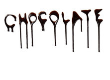 Chocolate syrup leaking liquid sweet food letters Stock Photos