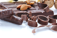 Chocolate, table, pieces. On white background Stock Photography