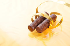 Chocolate, table, pieces Royalty Free Stock Photography