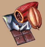 Chocolate tablet. Cacao beans and chocolate table. Hand painted illustration Royalty Free Stock Image