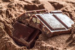 Chocolate tablet cubes Royalty Free Stock Photos