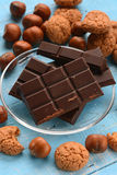 Chocolate tablet on glass dish Stock Images