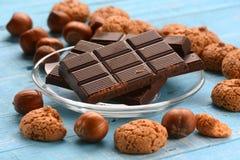 Chocolate tablet on glass dish Stock Image