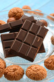 Chocolate tablet on glass dish Royalty Free Stock Images