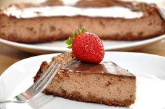Chocolate Tart Cake. Close up shot of sweet and delicious chocolate tart topped with Strawberry Royalty Free Stock Photos