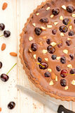 Chocolate tart with cherries Royalty Free Stock Images