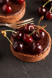 Chocolate tart with cherry Stock Image