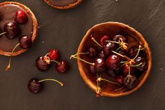 Chocolate tart with cherry Royalty Free Stock Image