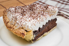 Chocolate Tart with cream and cocoa powder on the top Stock Photo