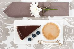 Chocolate tart and a cup of coffee Stock Photography