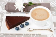 Chocolate tart and a cup of coffee Royalty Free Stock Images