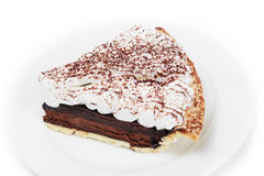 Chocolate tart on the dish in white background Stock Image