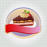 Chocolate tart label. One slice of chocolate tart or pie with cream on top Stock Photos