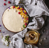Chocolate tart with mango and raspberries Stock Photos