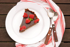 Chocolate tart with raspberry Royalty Free Stock Photos