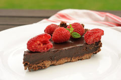 Chocolate tart with raspberry Royalty Free Stock Image