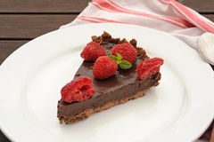 Chocolate tart with raspberry Stock Photo