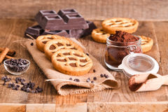 Chocolate tart. Chocolate tart on wooden table Stock Images
