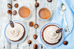 Chocolate tartlet with chestnut cream frosting Stock Images