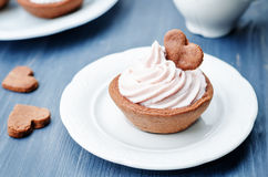 Chocolate tartlets with berry cream cheese frosting Stock Photos