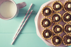 Chocolate tartlets Royalty Free Stock Images