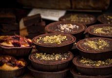 Chocolate tarts Stock Photo