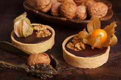 Chocolate tarts with walnut and physalis. On wooden rustic background. Selective focus stock image