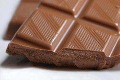 Chocolate Temptation. Close-up of chocolate bar Royalty Free Stock Photo