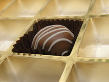 Chocolate temptation. The last chocolate in the box Royalty Free Stock Images