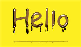Chocolate text hello Stock Image