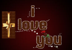 Chocolate text I love you. Stock Image