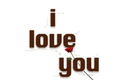 Chocolate text I love you. Stock Images