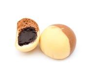 Chocolate thai mochi on white Stock Photos