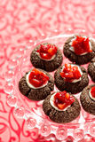 Chocolate thumbprint cookies Royalty Free Stock Photo