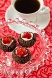 Chocolate thumbprint cookies Stock Images